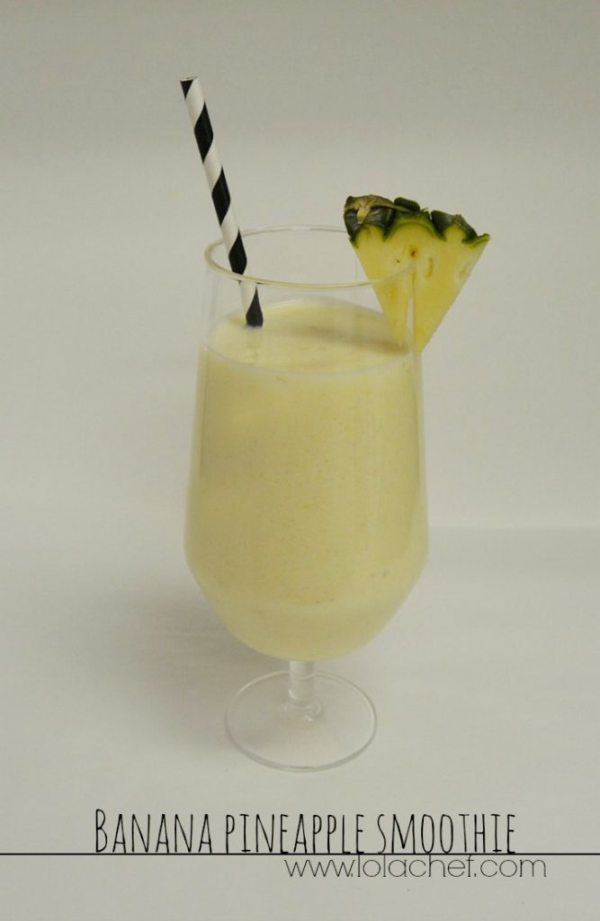 A freshing smoothie made with bananas and pineapples.