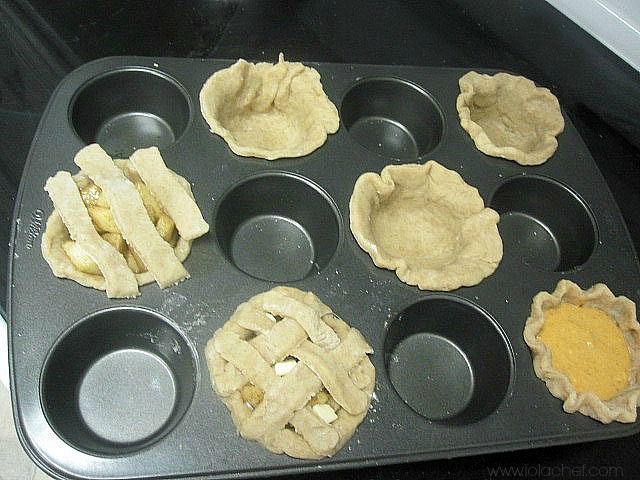 Delicious Fall apple and pumpkin pies in mini easy to eat versions.