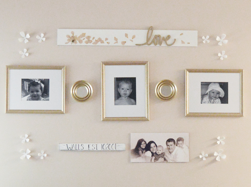 Easy and simple gallery wall idea using using family photos.