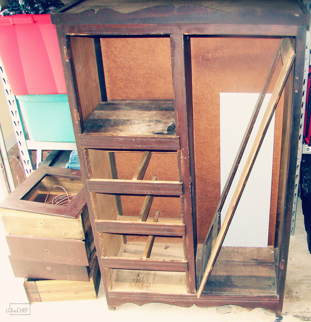 DIY armoire makeover on this piece I found at a local antique shop.