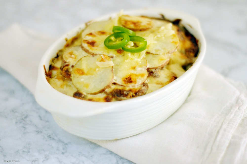 Jalapeno popper scalloped potatoe recipe for a spicy twist on traditional scalloped potatoes.